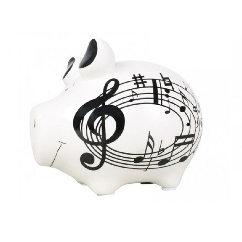 Dieren spaarpot wit varken/big met muzieknoten 12 cm
