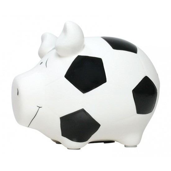 Dieren spaarpot wit varken/big voetbal thema 12 cm