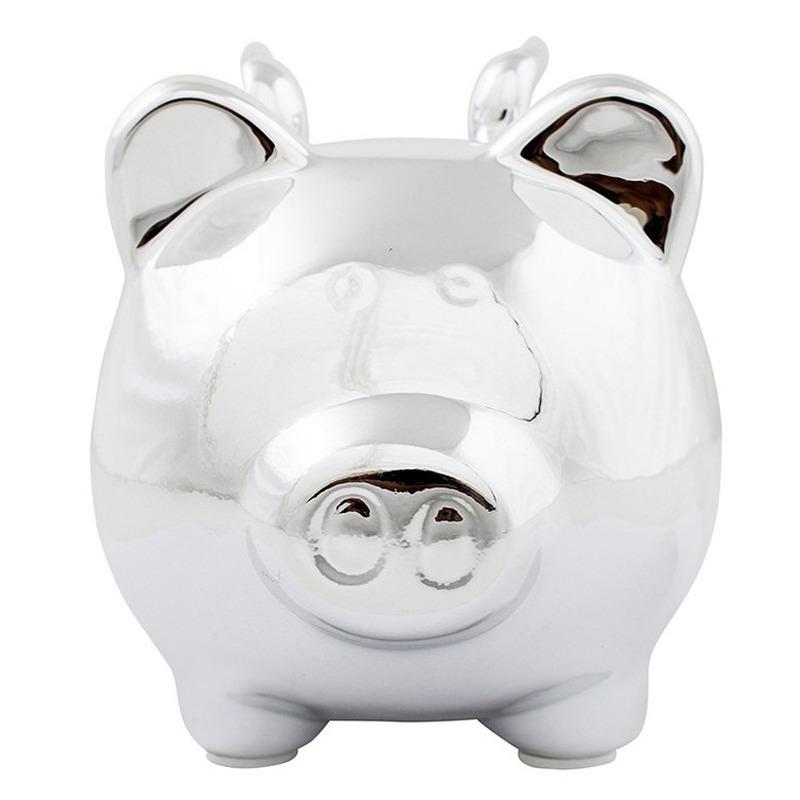 Dieren spaarpot zilver varken/big voor kinderen/volwassenen 12 cm