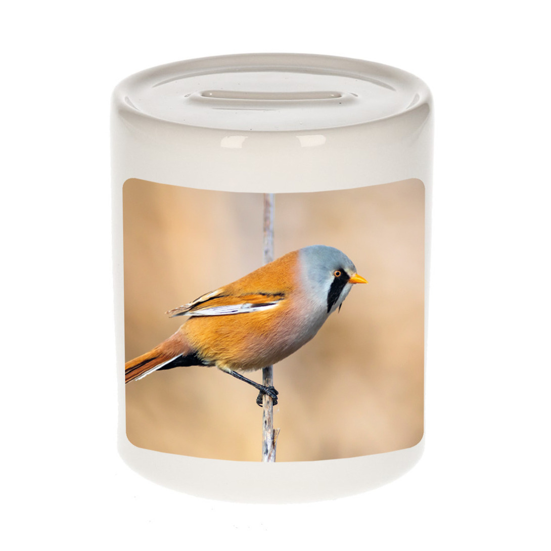 Foto baardmannetje vogel spaarpot 9 cm - Cadeau vogels liefhebber