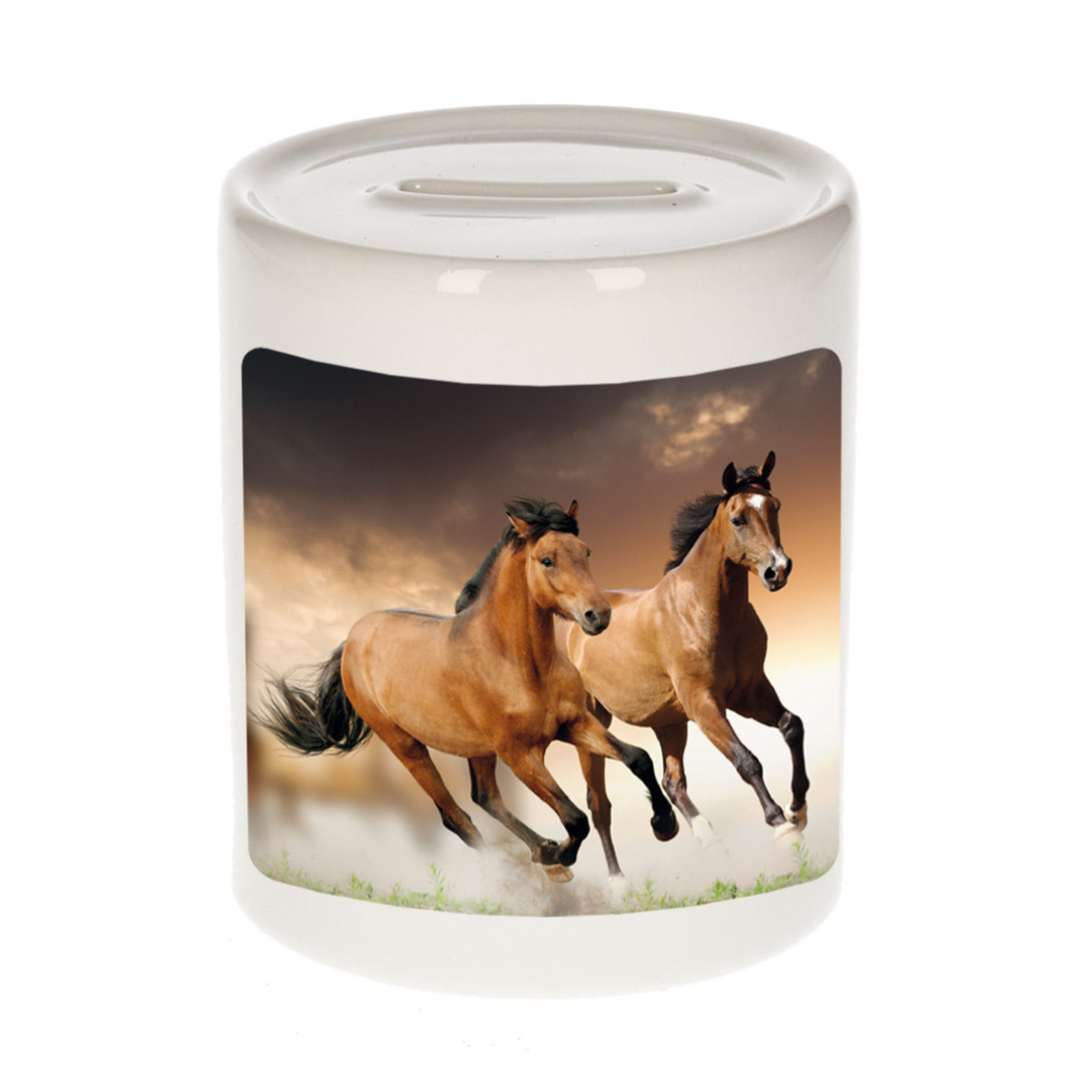 Foto bruin paard spaarpot 9 cm - Cadeau paarden liefhebber