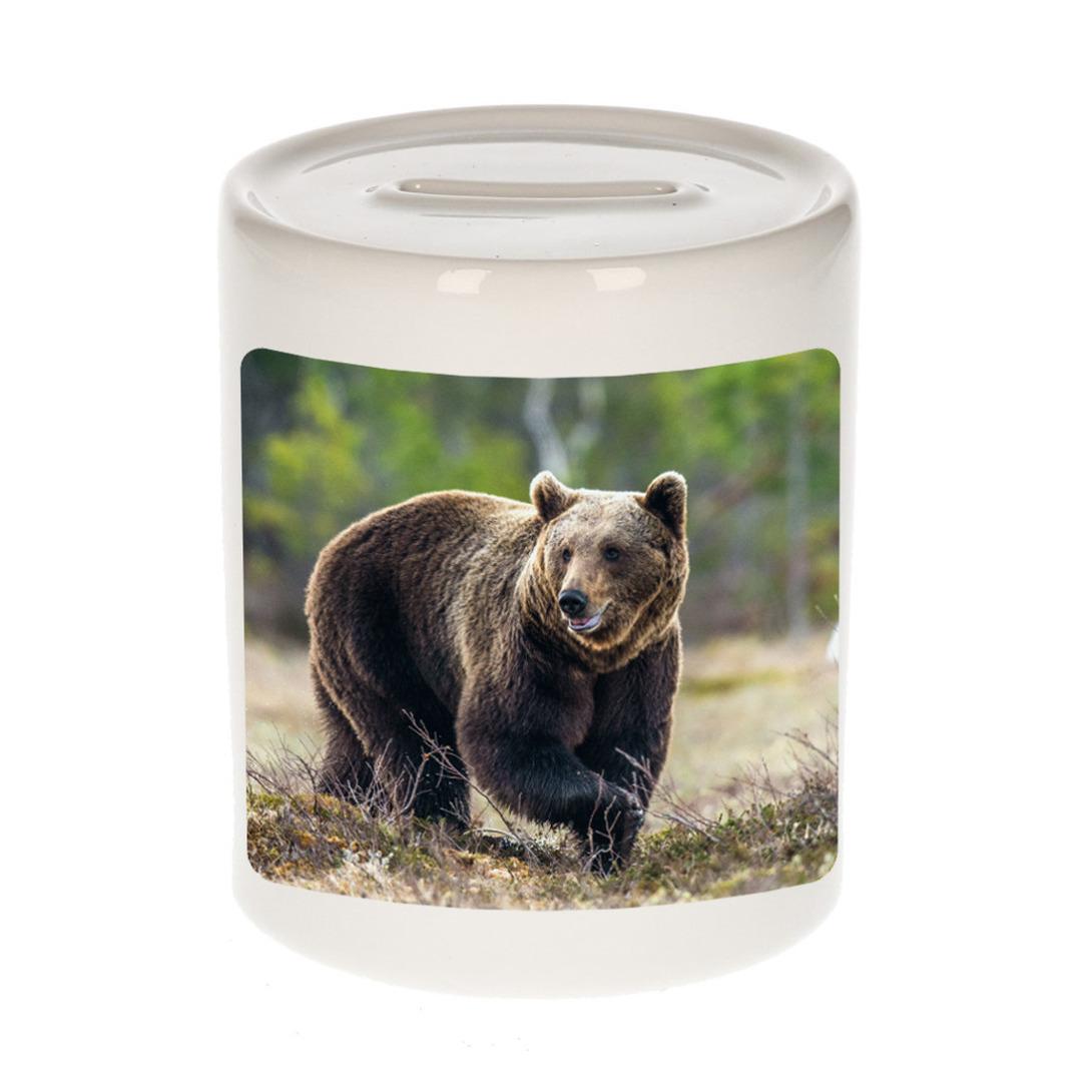 Foto bruine beer spaarpot 9 cm - Cadeau beren liefhebber