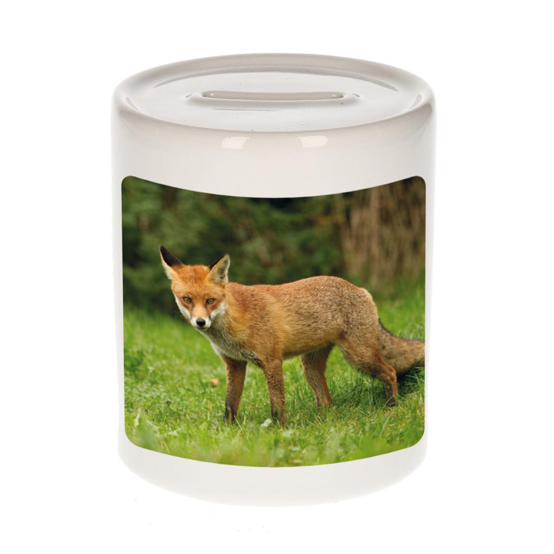 Foto bruine vos spaarpot 9 cm - Cadeau vossen liefhebber