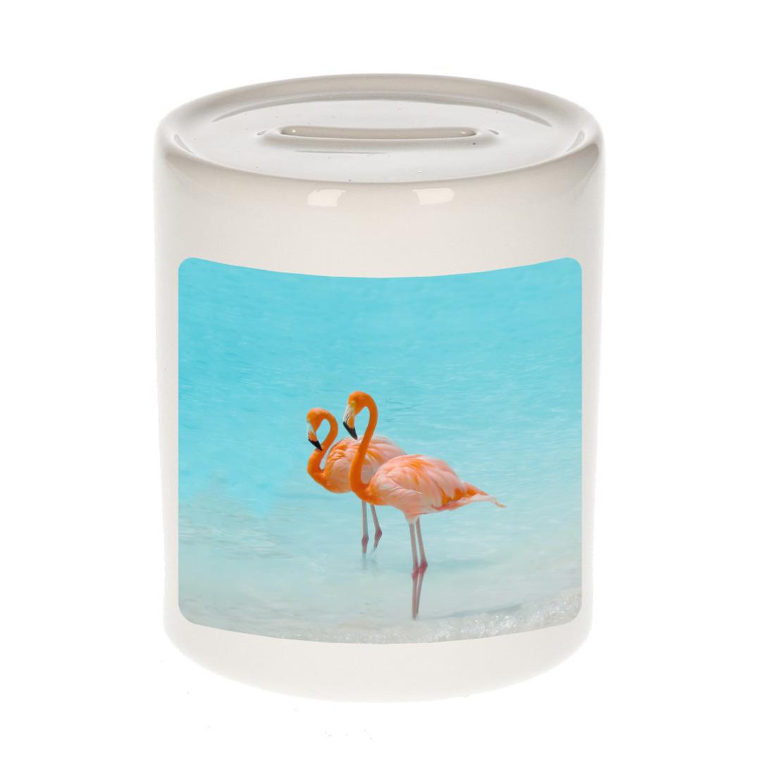Foto flamingo spaarpot 9 cm - Cadeau flamingo vogels liefhebber