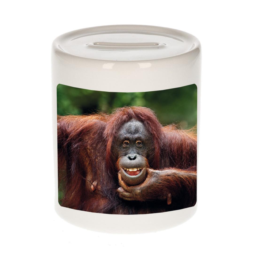 Foto gekke orangoetan spaarpot 9 cm - Cadeau apen liefhebber