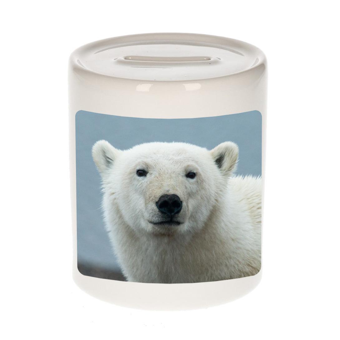Foto grote ijsbeer spaarpot 9 cm - Cadeau ijsberen liefhebber