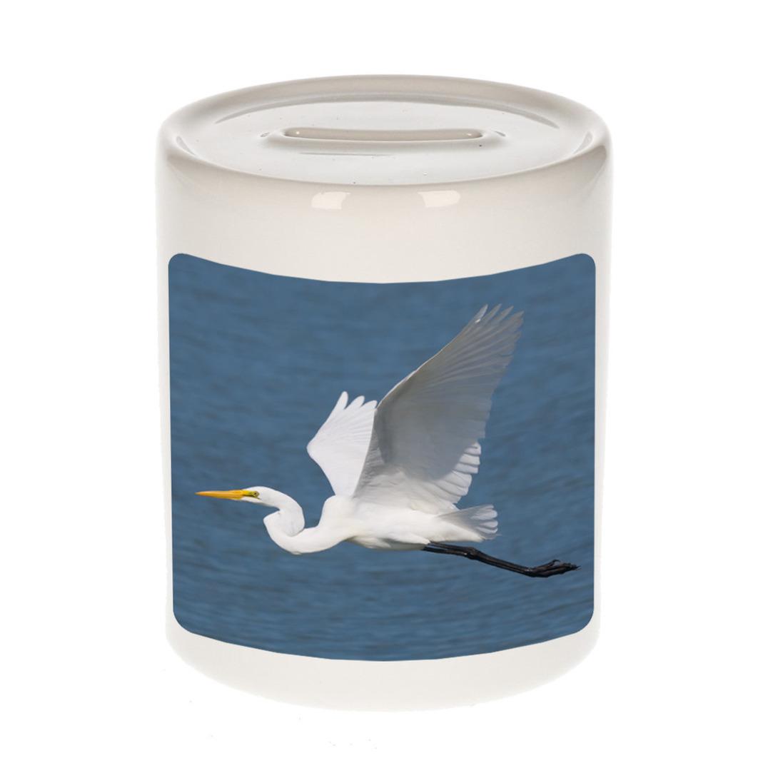 Foto grote zilverreiger spaarpot 9 cm - Cadeau vogels liefhebber