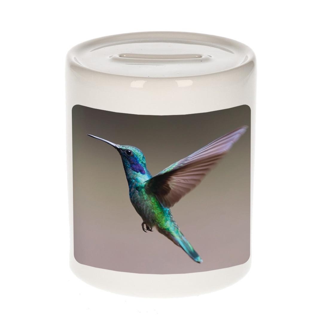 Foto kolibrie vogel vliegend spaarpot 9 cm - Cadeau vogels liefhebber