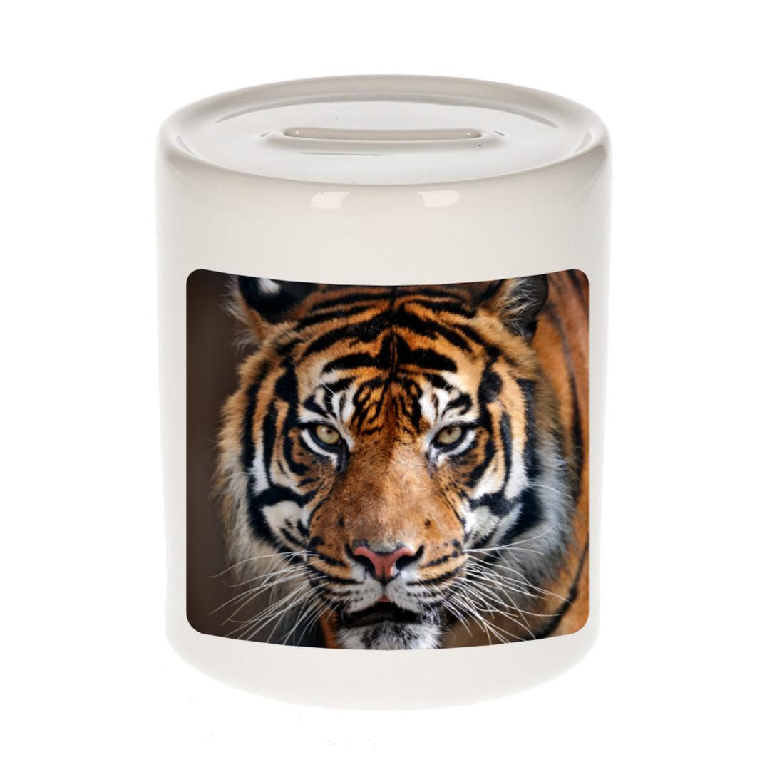 Foto tijger spaarpot 9 cm - Cadeau tijgers liefhebber