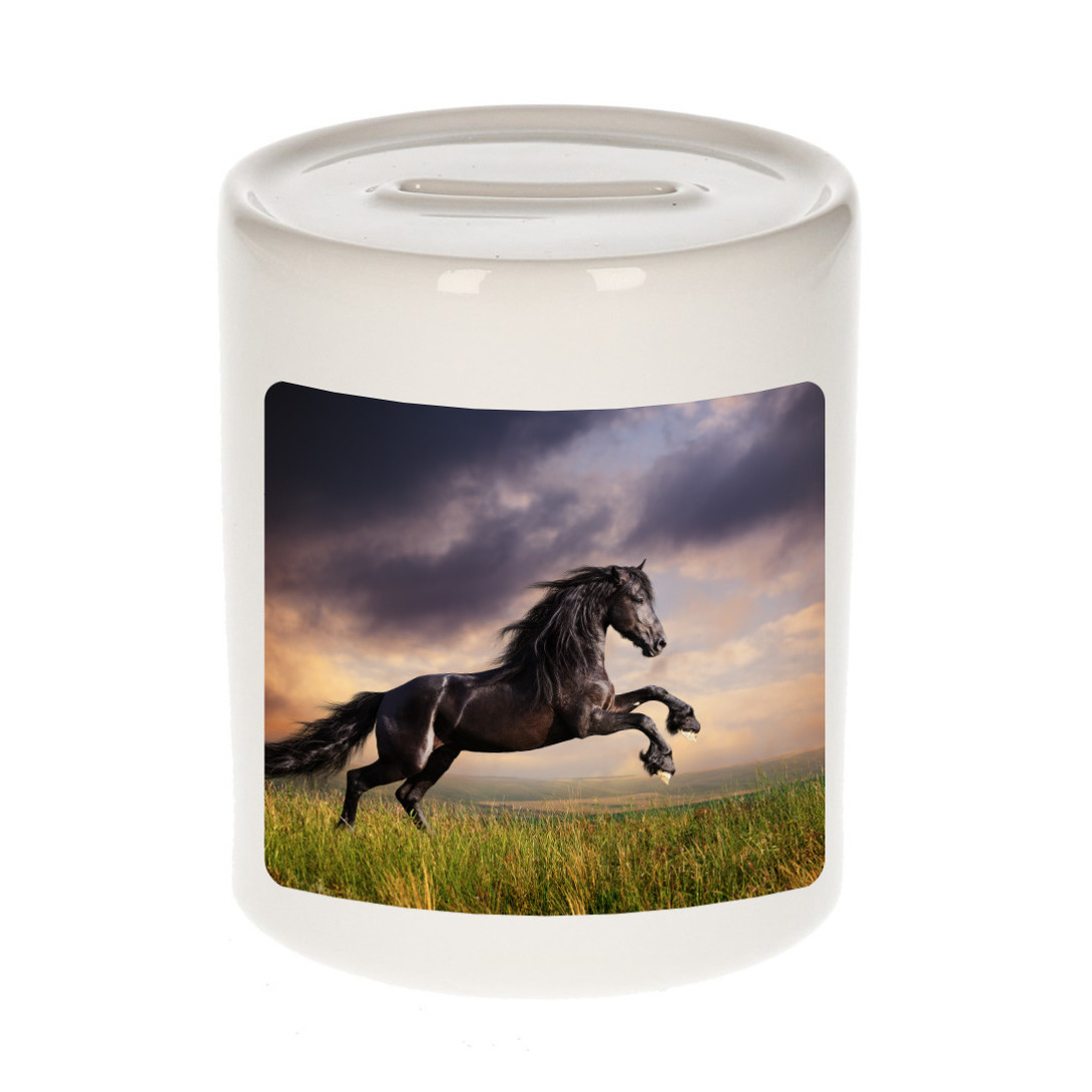 Foto zwart paard spaarpot 9 cm - Cadeau paarden liefhebber