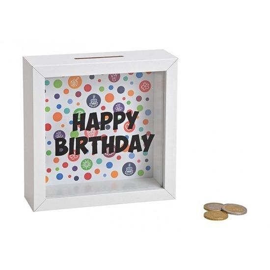 Gefeliciteerd noodboxen spaarpot wit 15 cm