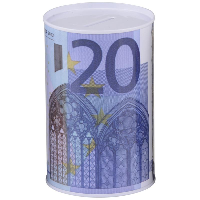 Geld 20 euro biljet spaarpotje 8 x 11 cm