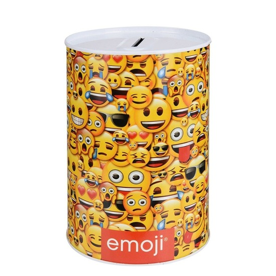 Gele emoji spaarpot 10 cm type 1