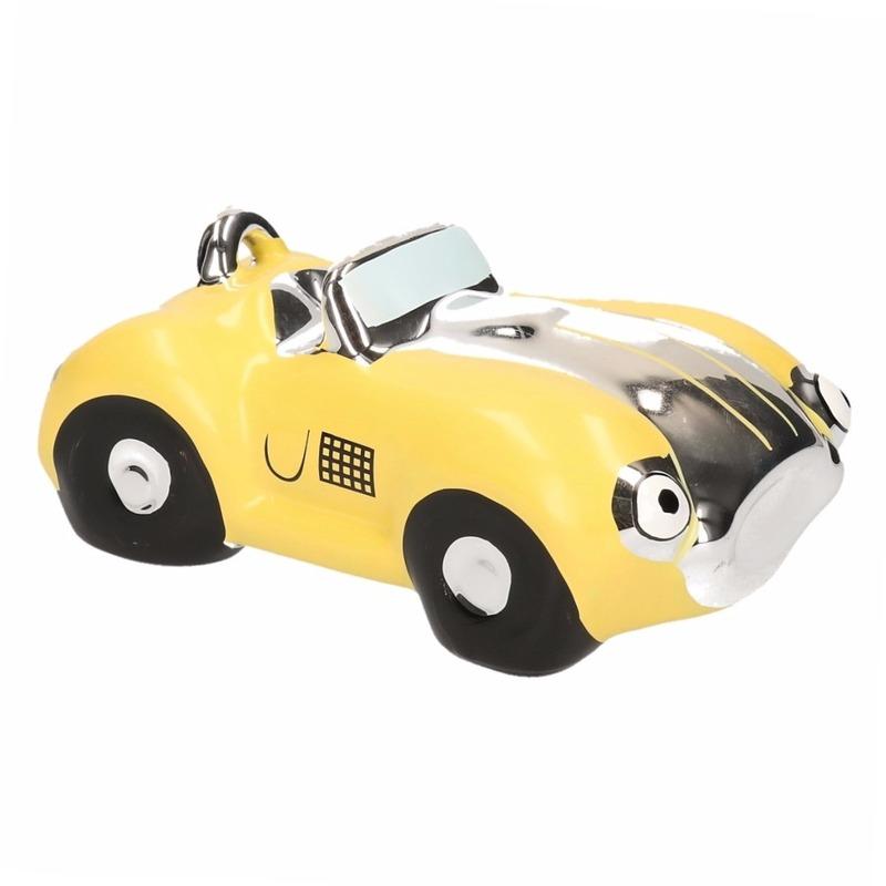 Gele jongens sportauto cabriolet spaarpot 15 cm