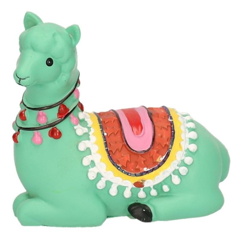 Groene dieren beeldje liggende alpaca 9 cm