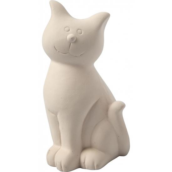 Hobby spaarpot kat wit zelf inkleurbaar 14 cm
