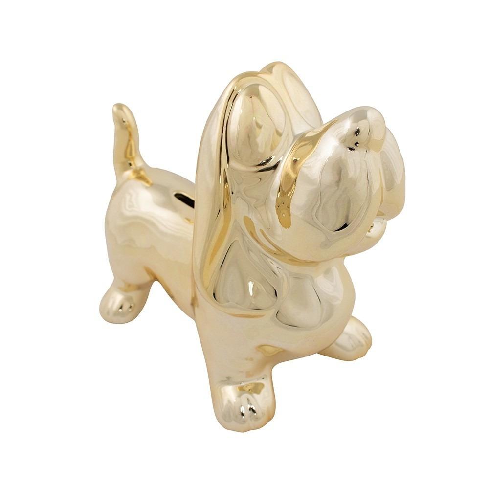 Honden dieren spaarpot teckel goud 20,5 cm