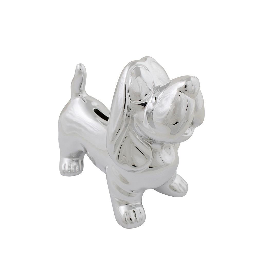Honden dieren spaarpot teckel zilver 18 cm