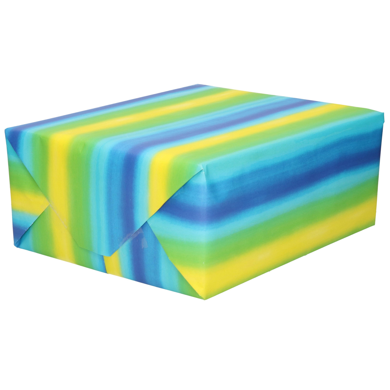 Inpakpapier/cadeaupapier - blauw - geel/groene strepen - 200 x 70 cm
