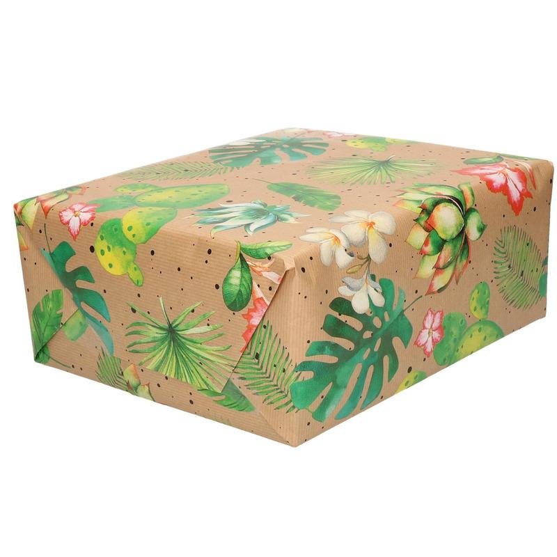 Inpakpapier/cadeaupapier bruin - bloemen en bladeren urban nature - 200 x 70 cm