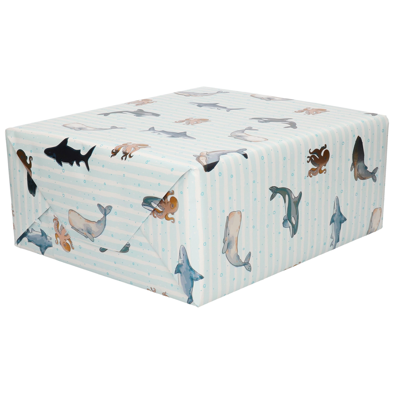 Inpakpapier/cadeaupapier lichtblauw zeedieren 200 x 70 cm
