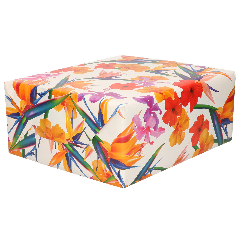 Inpakpapier/cadeaupapier - wit - gekleurde bloemen - 200 x 70 cm
