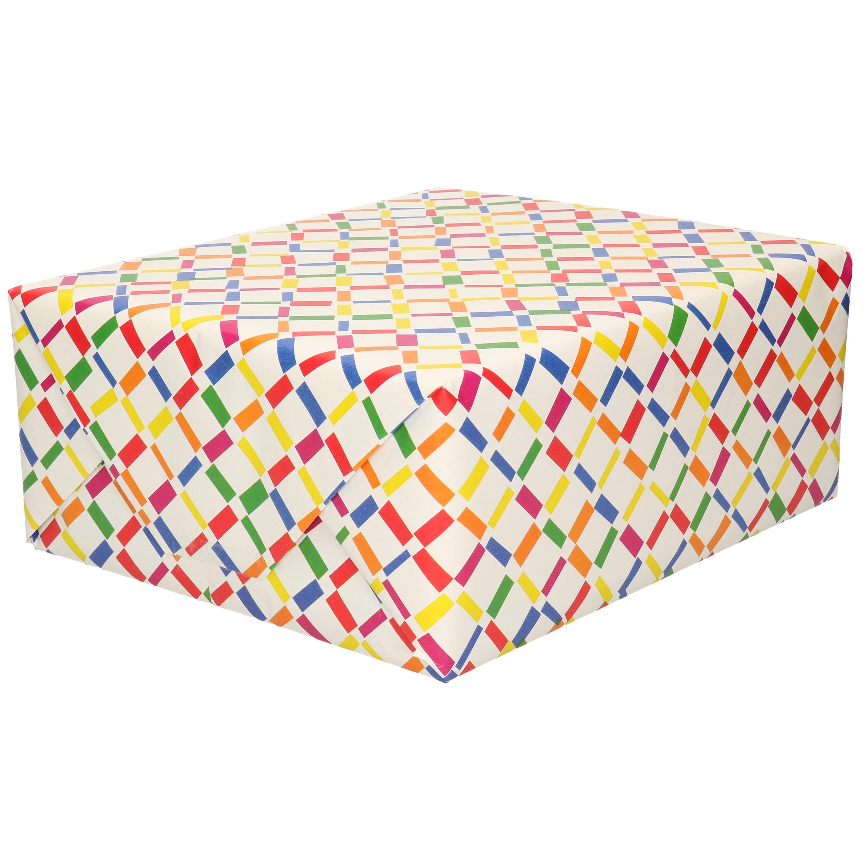 Inpakpapier/cadeaupapier - wit - gekleurde ruitjes/staafjes - 200 x 70 cm