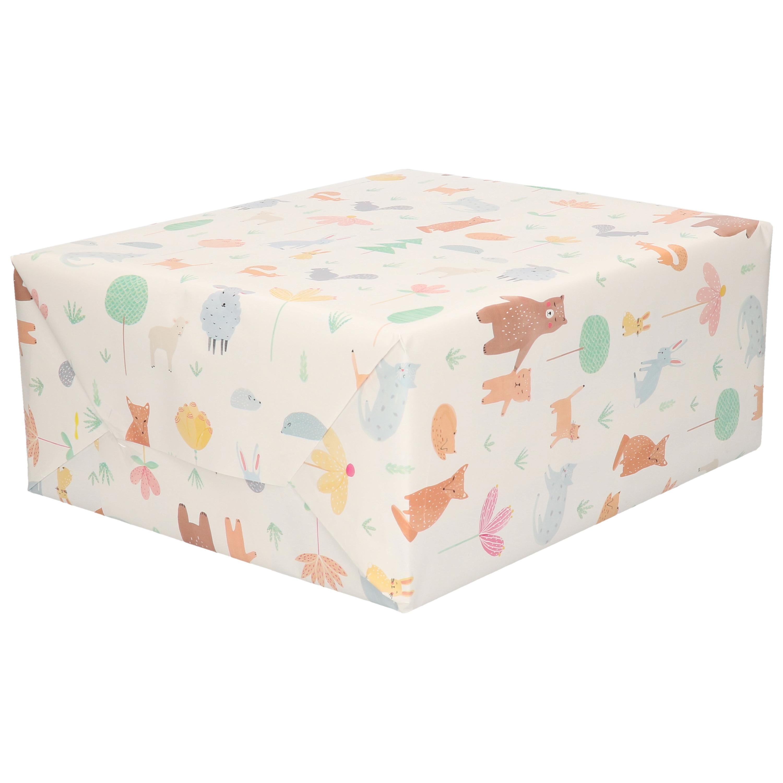 Inpakpapier/cadeaupapier wit pastelkleur dieren 200 x 70 cm