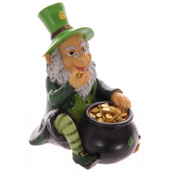 Kabouter met pot goud spaarpot 13 cm
