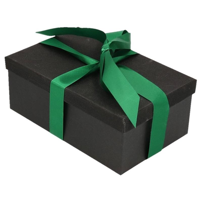 Kado doosje zwart glitter 24 cm en donkdergroen kadolint