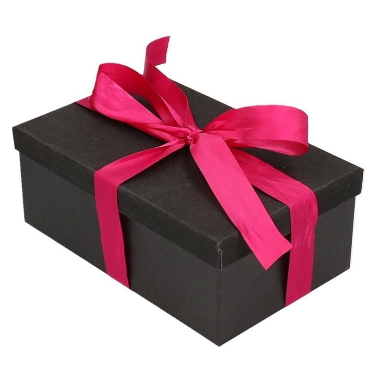 Kado doosje zwart glitter 24 cm en fuchsia roze kadolint