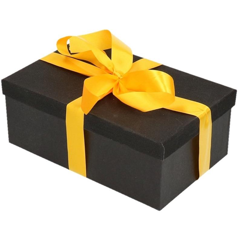 Kado doosje zwart glitter 24 cm en geel kadolint