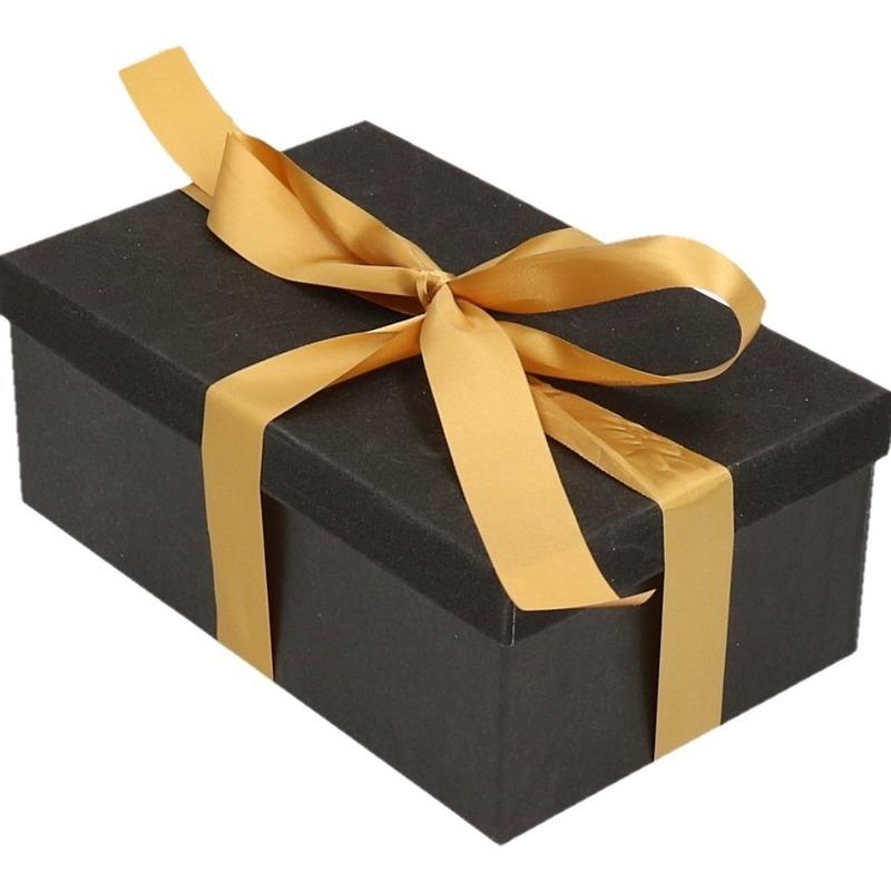 Kado doosje zwart glitter 24 cm en goudkleurig kadolint