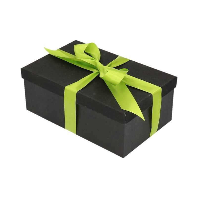 Kado doosje zwart glitter 24 cm en lichtgroen kadolint