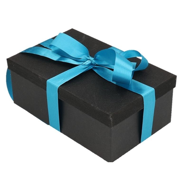 Kado doosje zwart glitter 24 cm en turquoise kado lint