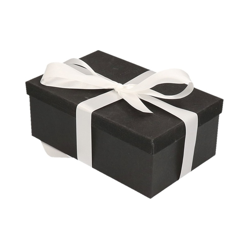 Kado doosjes zwart glitter 7 cm rechthoek met wit lint