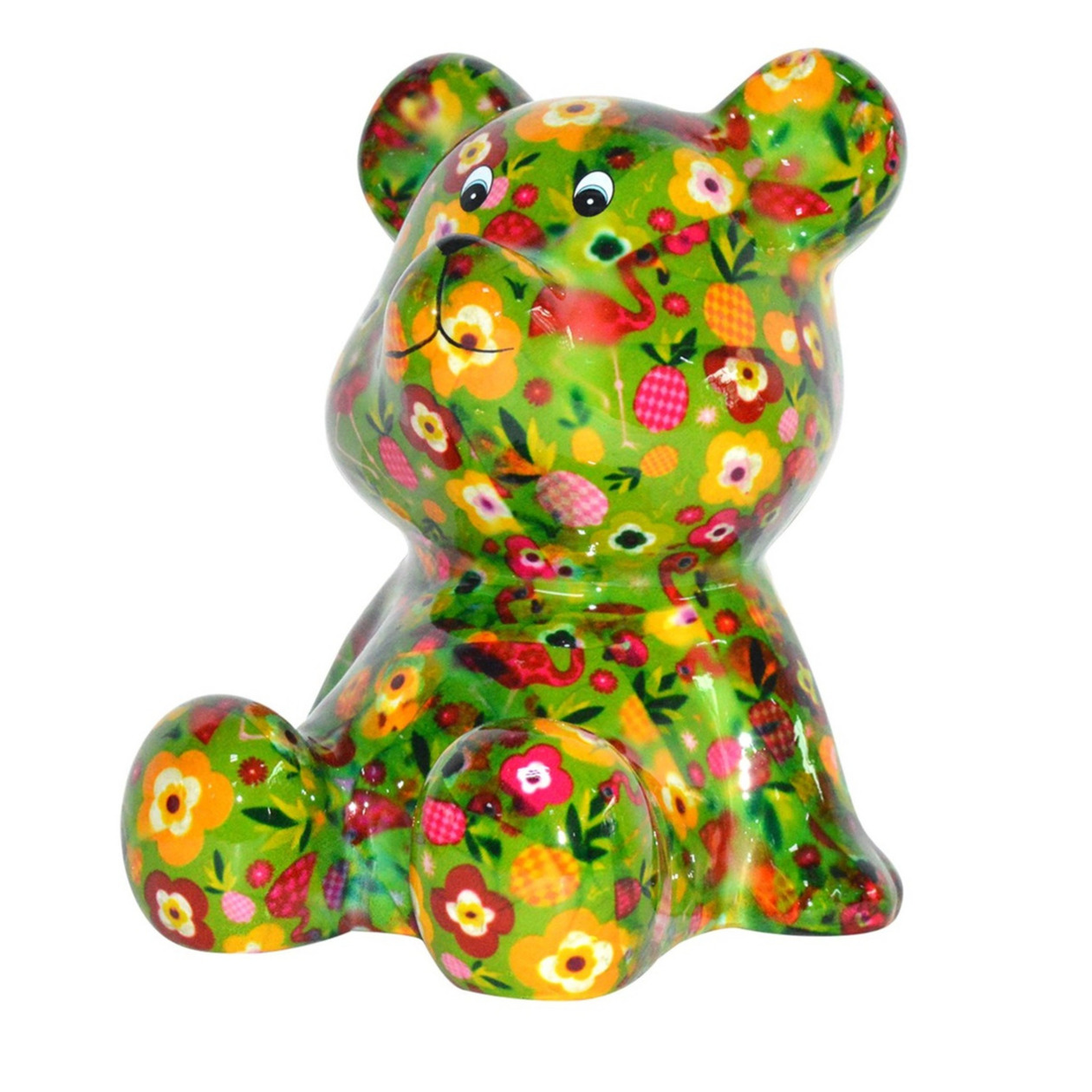 Kado spaarpot beer groen met fruit print 16 cm