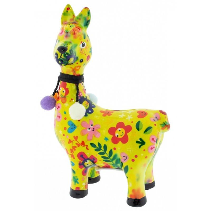 Kado spaarpot lama/alpaca geel met gekleurde bloemen print 23 cm