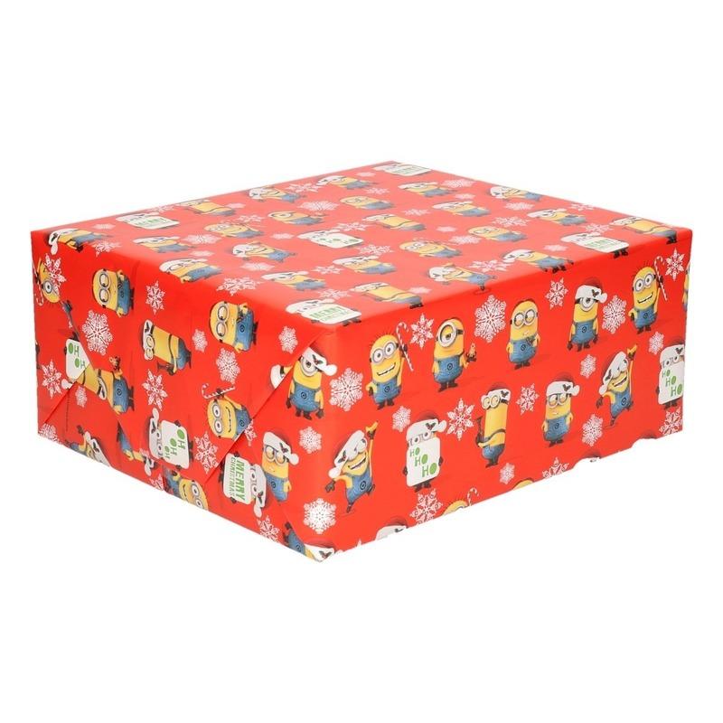 Kerst cadeaupapier Minions rood