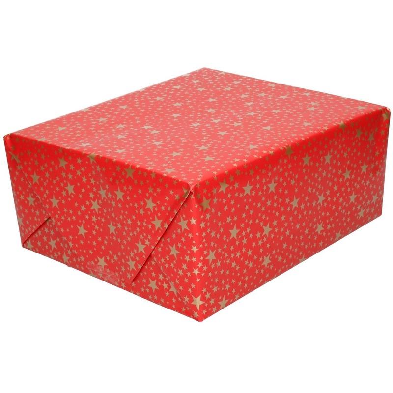 Kerst cadeaupapier rood met gouden sterren 70 x 200 cm