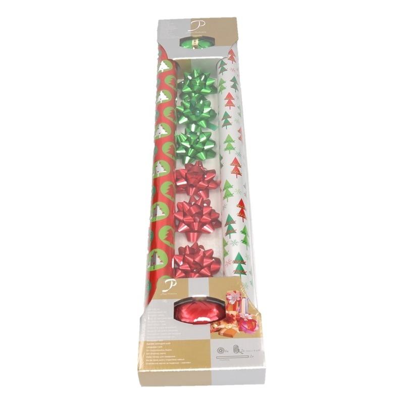 Kerst cadeaupapier setje 10-delig rood/groen