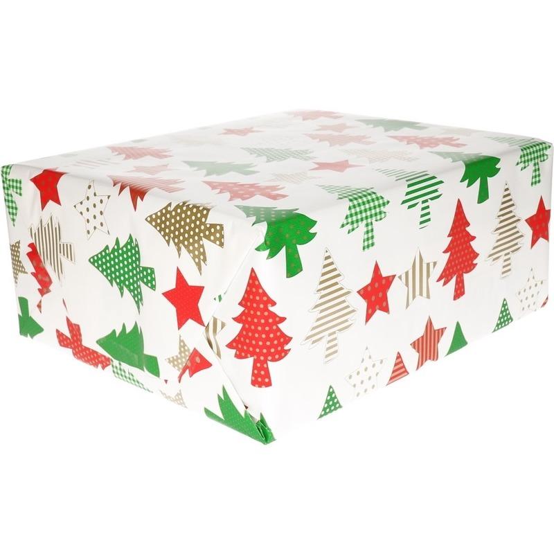 Kerst cadeaupapier wit/rode/gouden/groene kerstbomen en kerststerren 70 x 200 cm