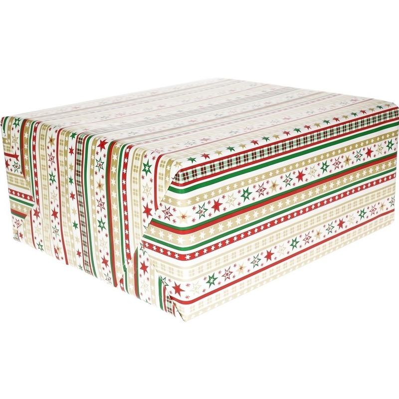 Kerst cadeaupapier wit/rode/gouden/groene strepen en sterren70 x 200 cm