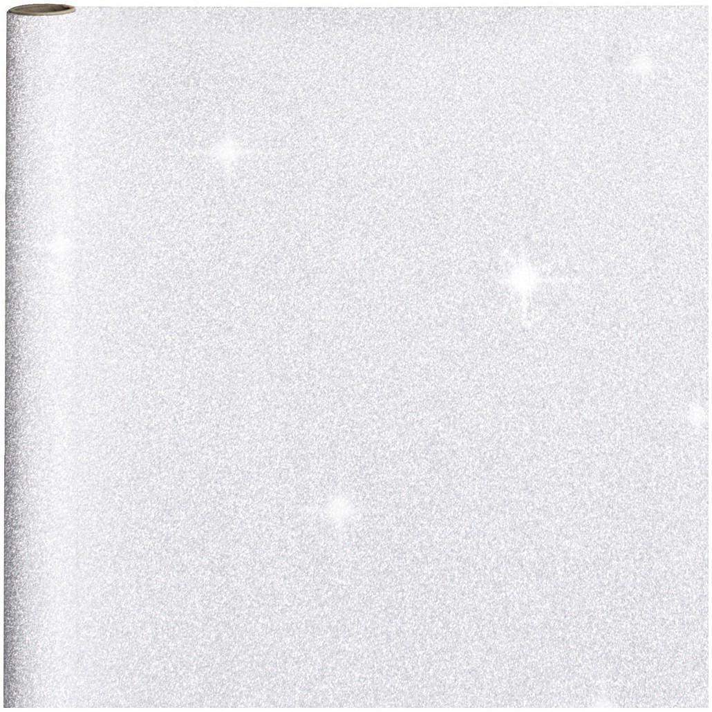 Kerst cadeaupapier zilveren glitters 70 x 150 cm