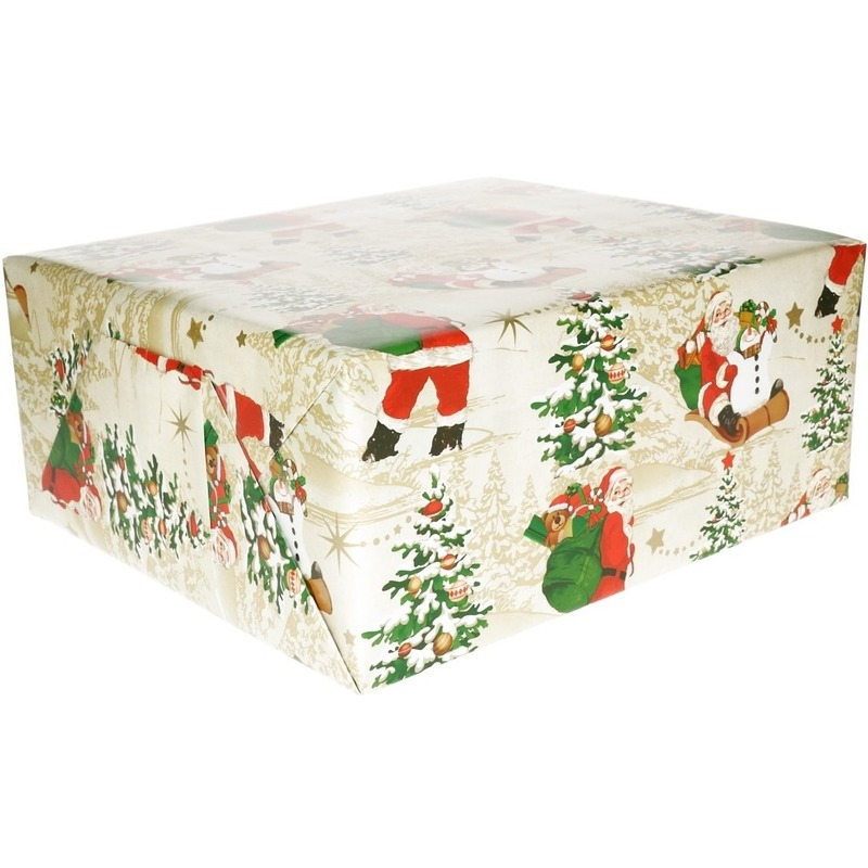 Kerst cadeaupapierwit met Kerstmannen dessin 70 x 200 cm