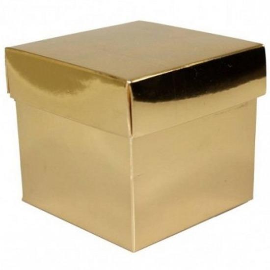 Losse gouden cadeaudoosjes/kadodoosjes 10 cm vierkant