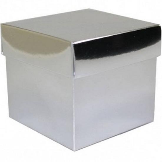 Losse zilveren cadeaudoosjes/kadodoosjes 10 cm vierkant
