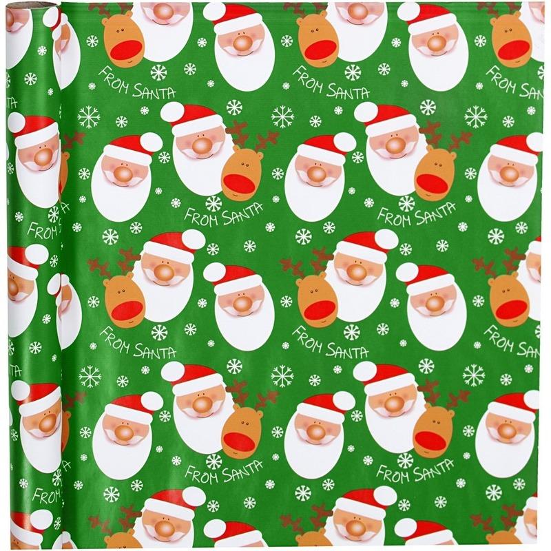 Luxe Kerst cadeaupapier groen met kerstman print 70 x 200 cm