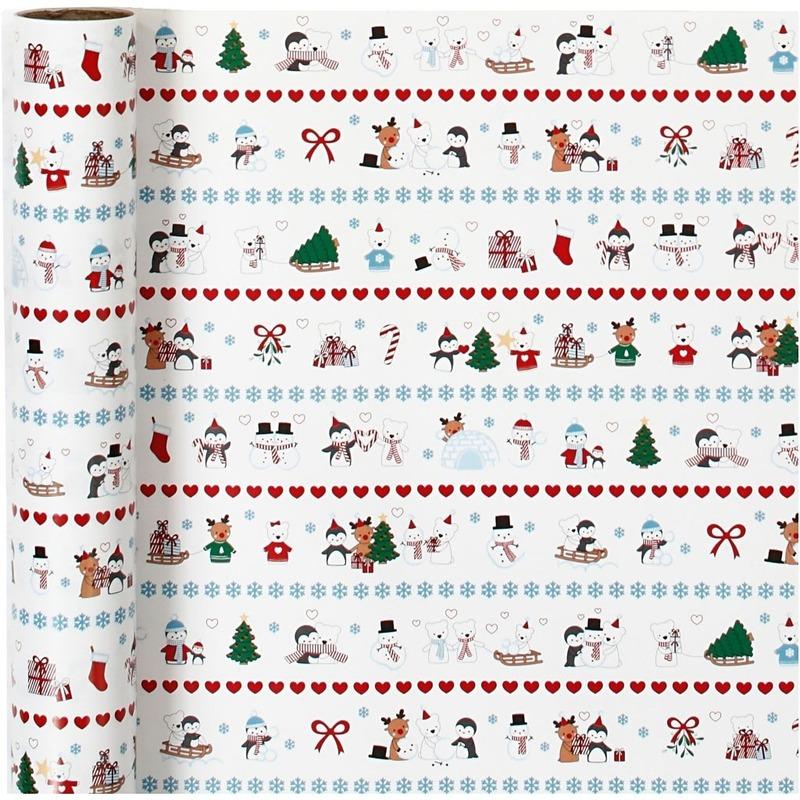 Luxe Kerst cadeaupapier pooldieren print 70 x 400 cm