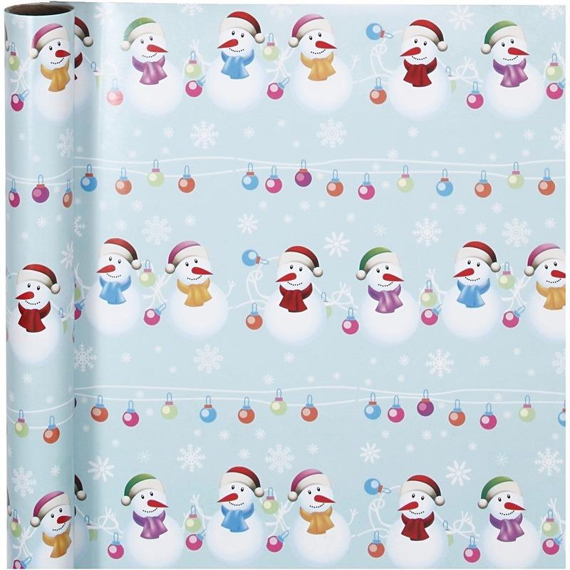Luxe Kerst cadeaupapier sneeuwpoppen print 70 x 400 cm